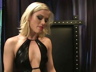 Beautiful Blonde Domina Ash Hollywood Clothed In Black Gets Her