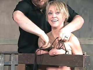 Crucified Big Boobed Blonde Dee Williams Undergoes Some Bondage & Discipline Treatment