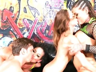 Three Street Bitches Gets Banged Hard By One Persistent Dude