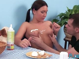 Whipcream On Teenage Vulva And Titties With Ponytailed Dark-haired Nubile