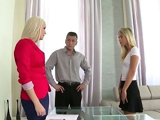 Gorgeous Honey Blanche Bradburry And Her Sexy Assistant Are Fucked By One Horny Boy
