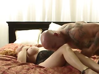Bald Inked Bull Takes Care Of Tender Red-haired In Bedroom