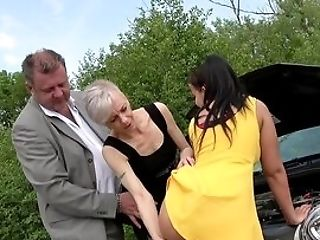 Matures And Her Daughter-in-law, Rough Hookup On The Road