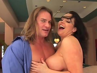 Yummy Dark-haired Cougar Angelica Sin With Massive Naturals Bares All