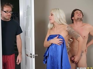 Blonde Cougar Bombshell Nina Elle Gets Jizz All Over Her Immense Faux Tits