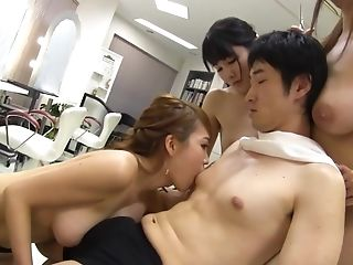 A Lucky Boy Gets Breast Banging From Three Asians With Big Natural Tits