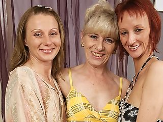 Three Matures Lezzies Soiree On The Couch