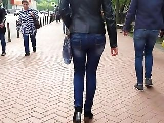Sexy Nymph With Round Bum In Leather Jacket
